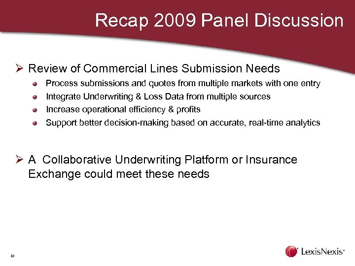 Recap 2009 Panel Discussion Ø Review of Commercial Lines Submission Needs Process submissions and