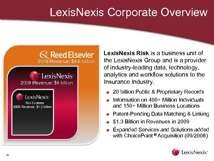 Lexis. Nexis Corporate Overview 2009 Revenue: $9. 6 billion 2009 Revenue: $4 billion 2009