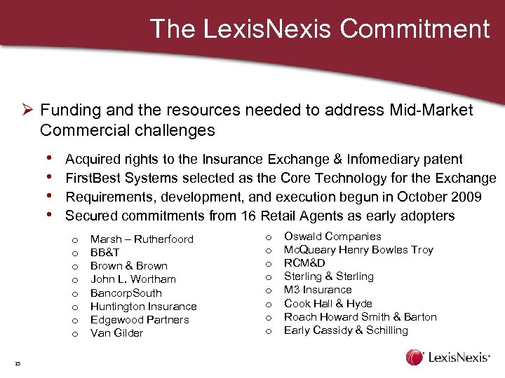 The Lexis. Nexis Commitment Ø Funding and the resources needed to address Mid-Market Commercial