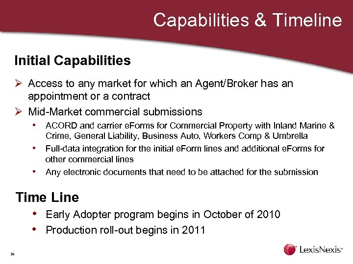 Capabilities & Timeline Initial Capabilities Ø Access to any market for which an Agent/Broker