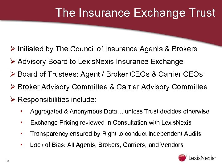 The Insurance Exchange Trust Ø Initiated by The Council of Insurance Agents & Brokers