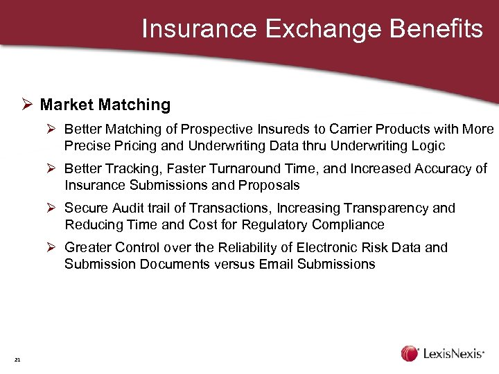 Insurance Exchange Benefits Ø Market Matching Ø Better Matching of Prospective Insureds to Carrier