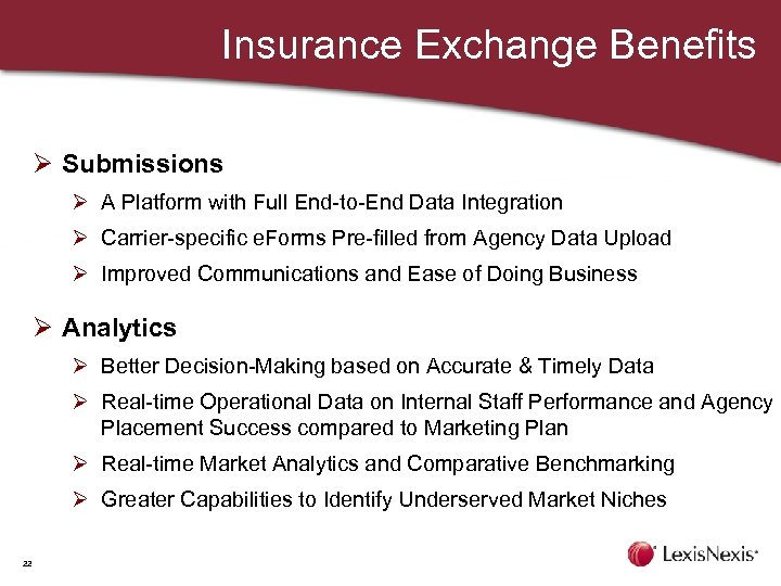 Insurance Exchange Benefits Ø Submissions Ø A Platform with Full End-to-End Data Integration Ø