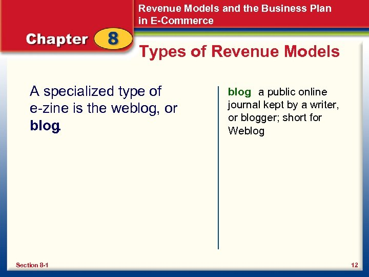 Revenue Models and the Business Plan in E-Commerce Types of Revenue Models A specialized