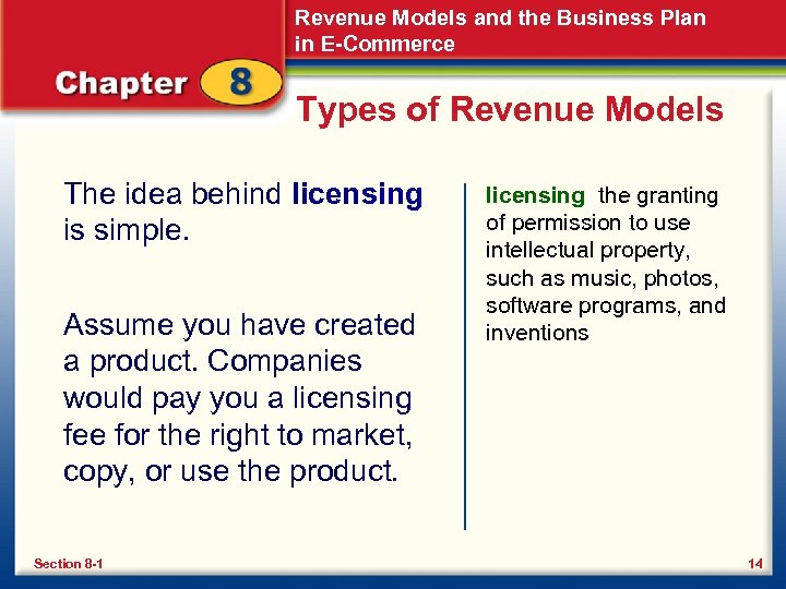 Revenue Models and the Business Plan in E-Commerce Types of Revenue Models The idea