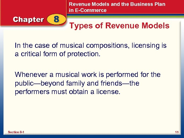 Revenue Models and the Business Plan in E-Commerce Types of Revenue Models In the
