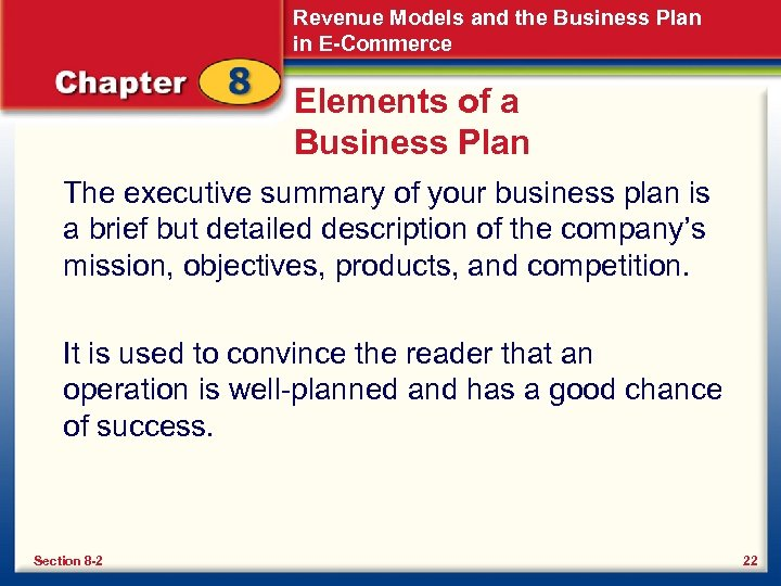 Revenue Models and the Business Plan in E-Commerce Elements of a Business Plan The