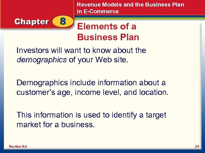 Revenue Models and the Business Plan in E-Commerce Elements of a Business Plan Investors