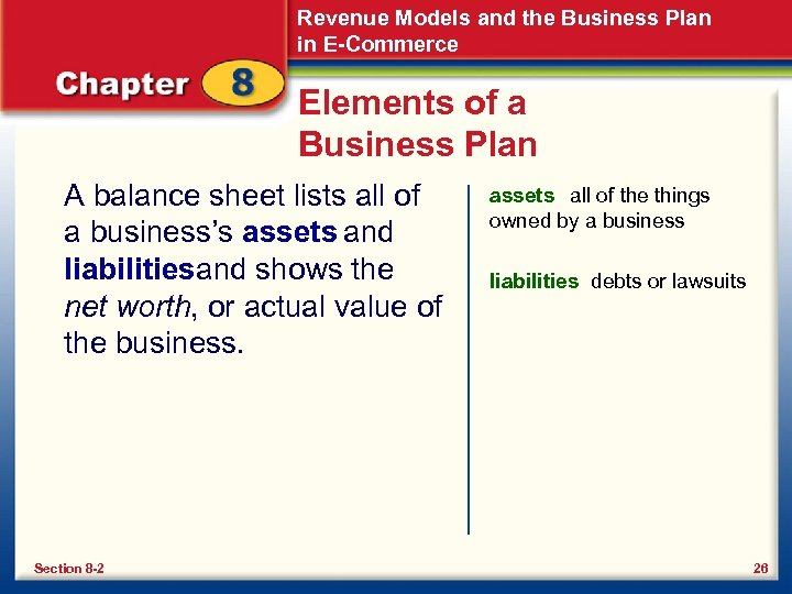 Revenue Models and the Business Plan in E-Commerce Elements of a Business Plan A