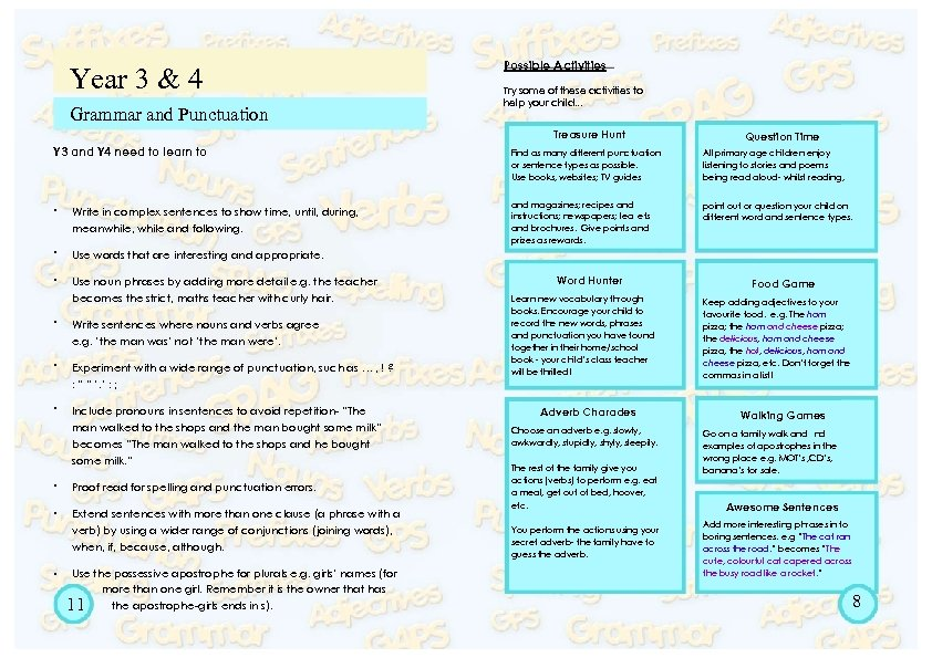 Year 3 & 4 Grammar and Punctuation Possible Activities Try some of these activities
