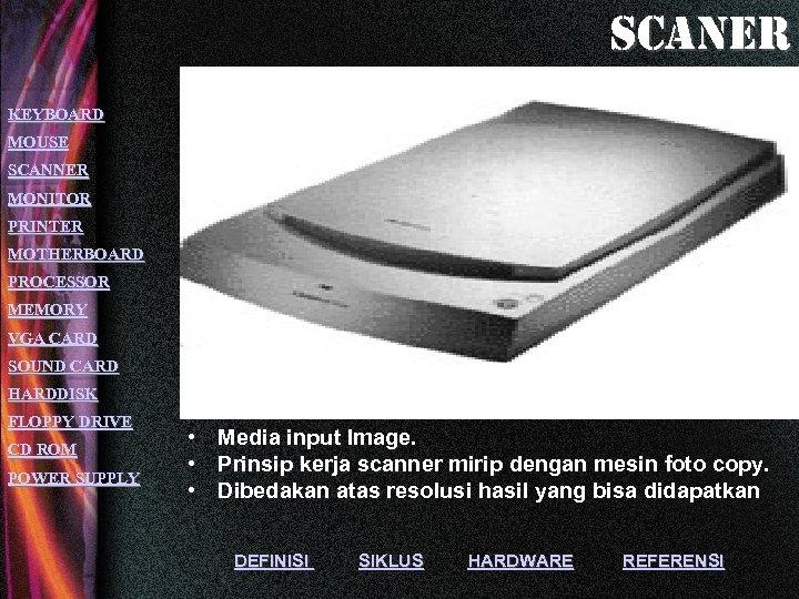 scaner KEYBOARD MOUSE SCANNER MONITOR PRINTER MOTHERBOARD PROCESSOR MEMORY VGA CARD SOUND CARD HARDDISK