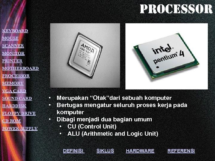 processor KEYBOARD MOUSE SCANNER MONITOR PRINTER MOTHERBOARD PROCESSOR MEMORY VGA CARD SOUND CARD HARDDISK