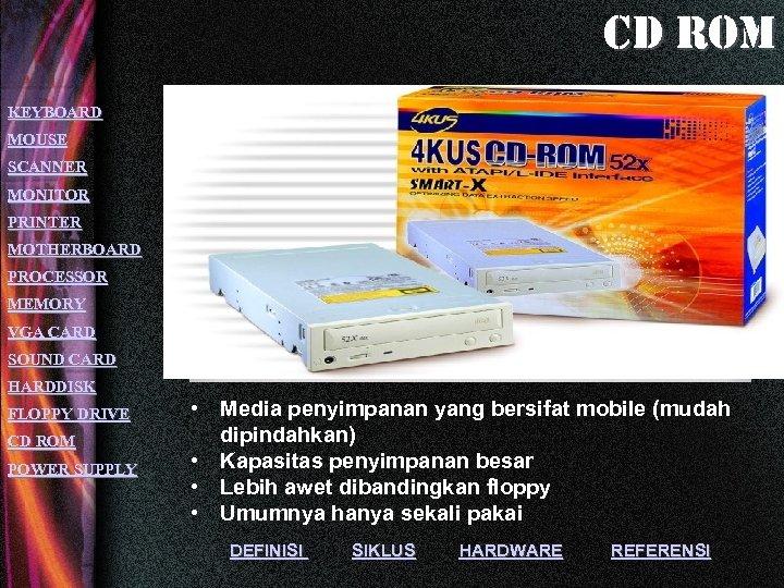 cd rom KEYBOARD MOUSE SCANNER MONITOR PRINTER MOTHERBOARD PROCESSOR MEMORY VGA CARD SOUND CARD