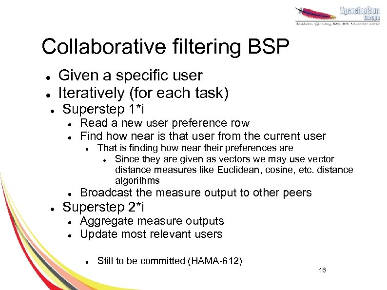 Collaborative filtering BSP l l l Given a specific user Iteratively (for each task)