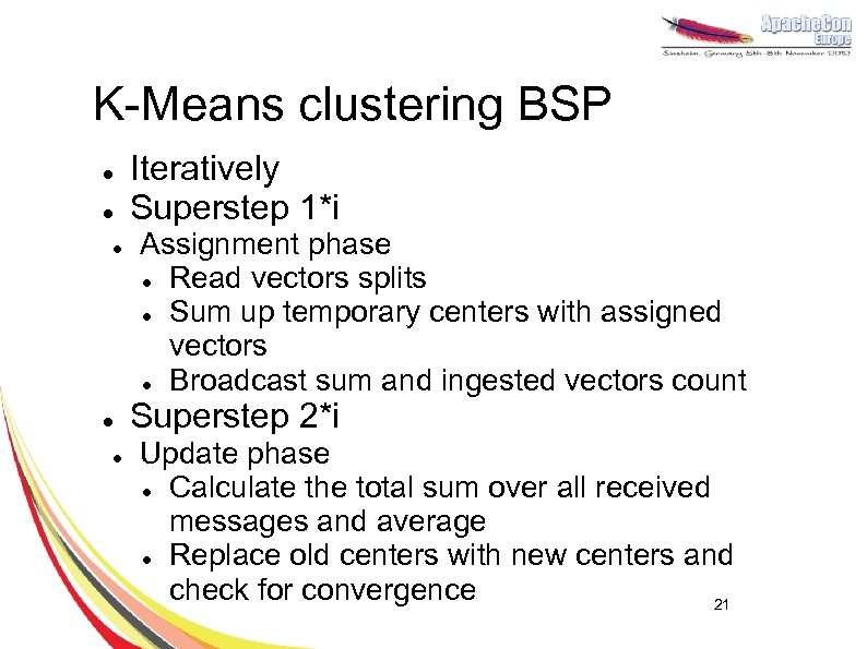 K-Means clustering BSP l l l Iteratively Superstep 1*i Assignment phase l Read vectors