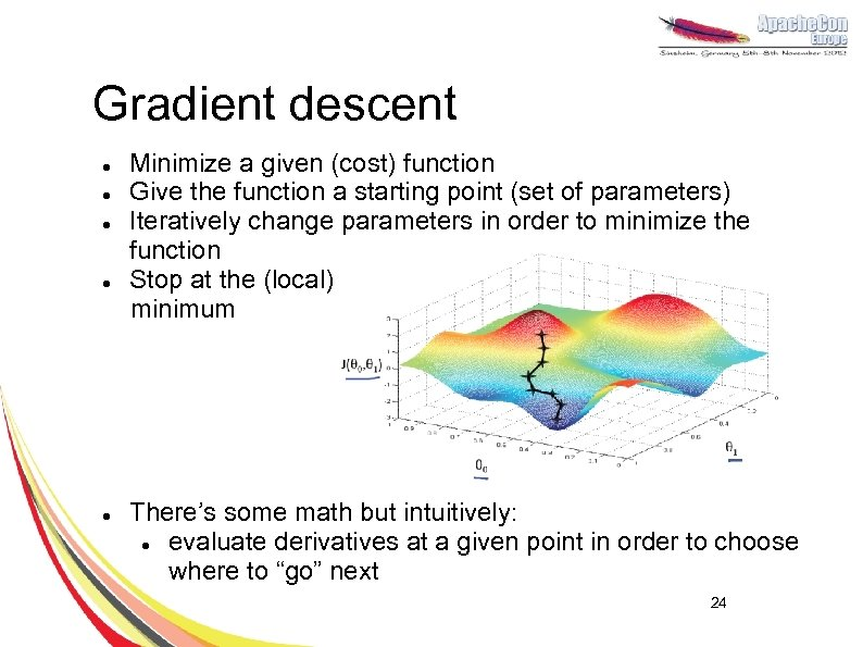 Gradient descent Minimize a given (cost) function l Give the function a starting point