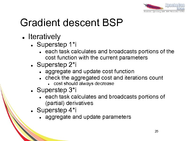 Gradient descent BSP l Iteratively l Superstep 1*i l l each task calculates and