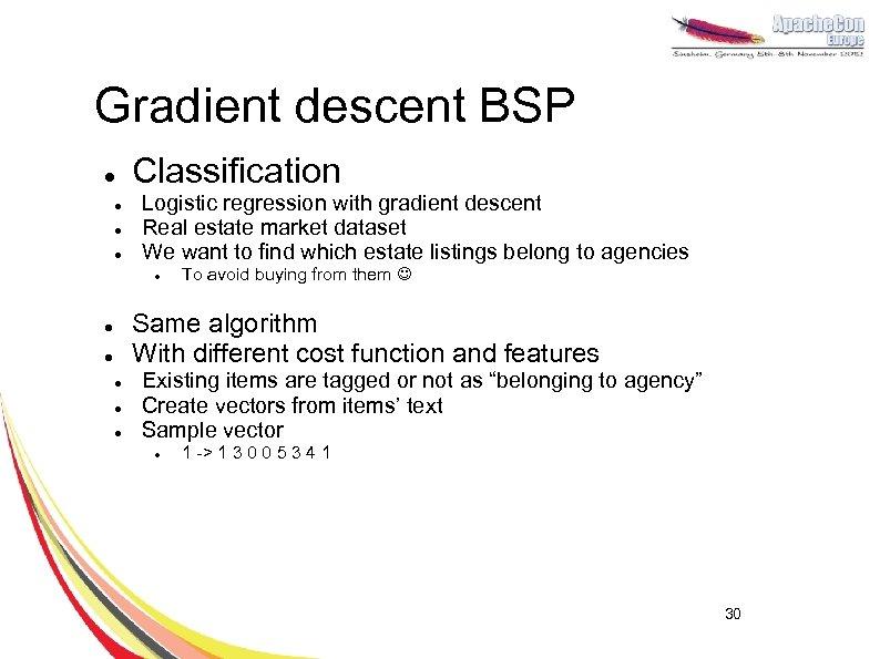 Gradient descent BSP l l Classification Logistic regression with gradient descent Real estate market