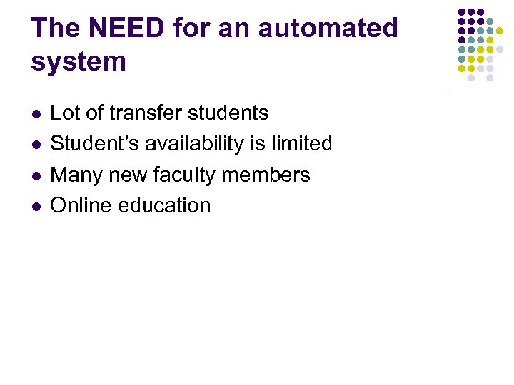 The NEED for an automated system l l Lot of transfer students Student's availability