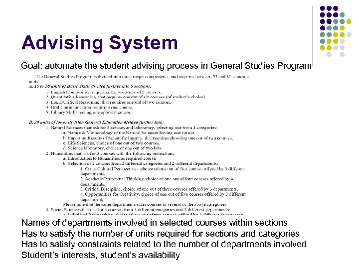 Advising System Goal: automate the student advising process in General Studies Program Names of