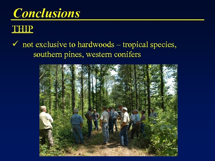 Conclusions THIP ü not exclusive to hardwoods – tropical species, southern pines, western conifers