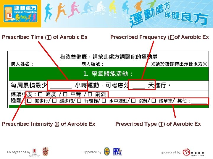 Prescribed Time (T) of Aerobic Ex Prescribed Intensity (I) of Aerobic Ex Co-organised by: