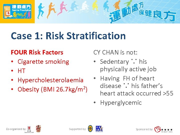 Case 1: Risk Stratification FOUR Risk Factors CY CHAN is not: • Cigarette smoking