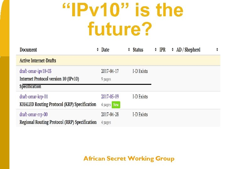"""IPv 10"" is the future? 2007 2017 B 2007 2012 2017 African Secret Working"