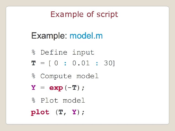 Example of script