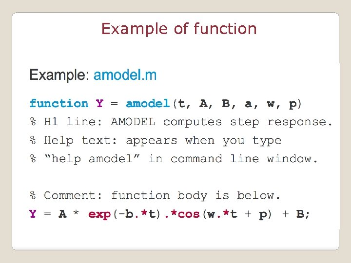 Example of function