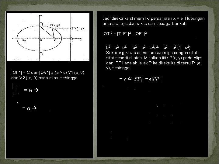 Jadi direktriks dl memiliki persamaan x = e. Hubungan antara a, b, c dan