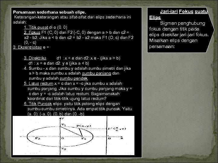 Persamaan sederhana sebuah elips. Keterangan keterangan atau sifat dari elips sederhana ini adalah: 1.
