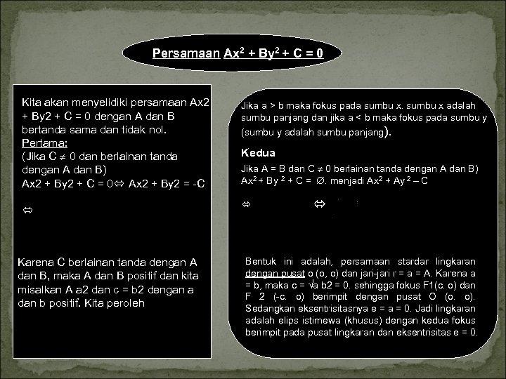 Persamaan Ax 2 + By 2 + C = 0 Kita akan menyelidiki persamaan