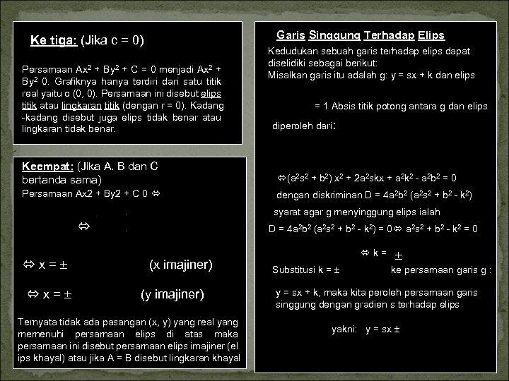 Garis Singgung Terhadap Elips Ke tiga: (Jika c = 0) Persamaan Ax 2 +