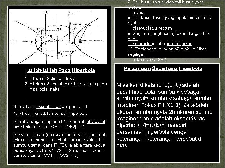 7. Tali busur fokus ialah tali busur yang melalui fokus 8. Tali busur fokus