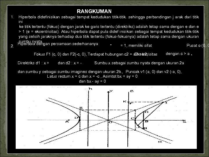 RANGKUMAN 1. Hiperbola didefinisikan sebagai tempat kedudukan titik. sehingga perbandingan j arak dari titik