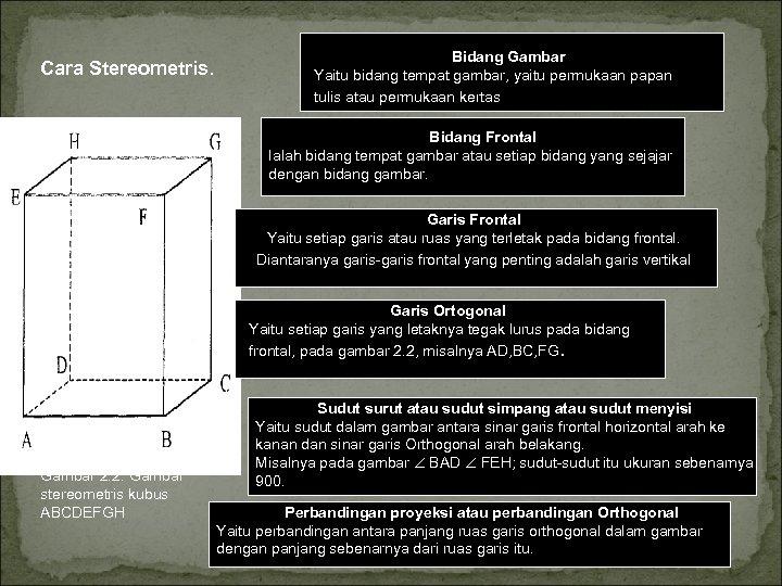 Cara Stereometris. Bidang Gambar Yaitu bidang tempat gambar, yaitu permukaan papan tulis atau permukaan