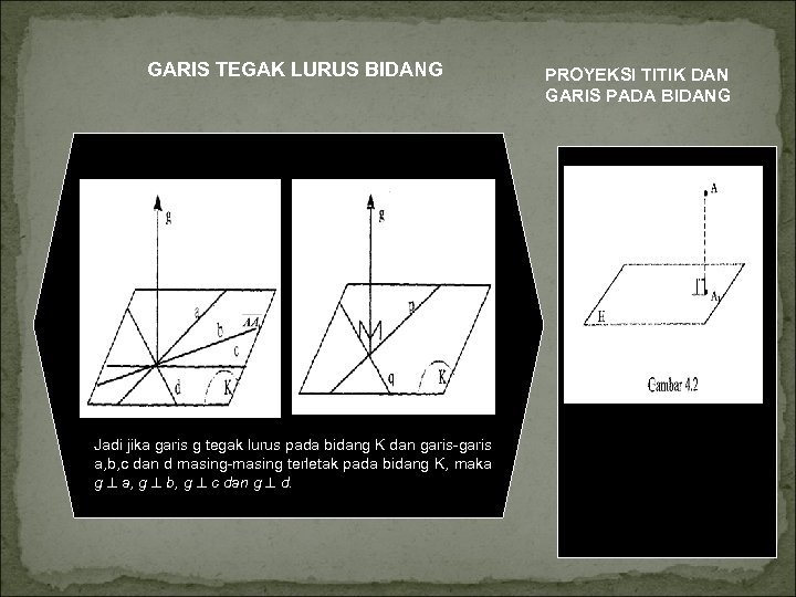 GARIS TEGAK LURUS BIDANG Jadi jika garis g tegak lurus pada bidang K dan