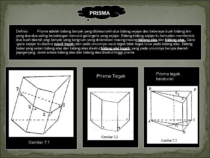 PRISMA Definisi : Prisma adalah bidang banyak yang dibatasi oleh dua bidang sejajar dan