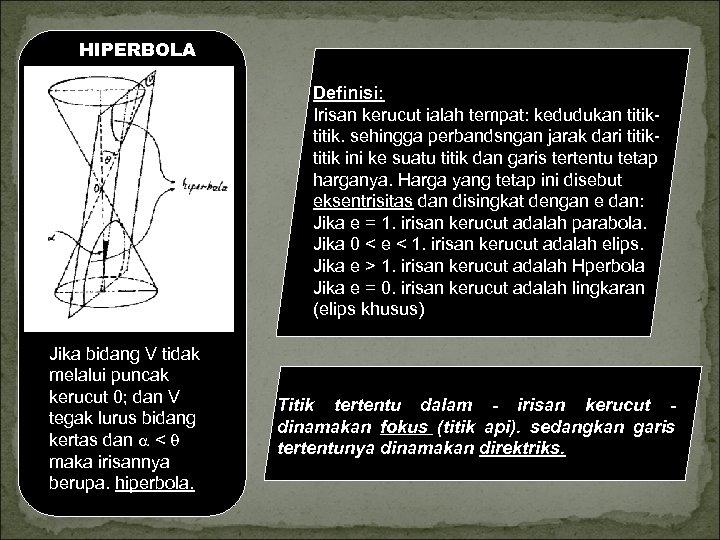 HIPERBOLA Definisi: Irisan kerucut ialah tempat: kedudukan titik. sehingga perbandsngan jarak dari titik ini