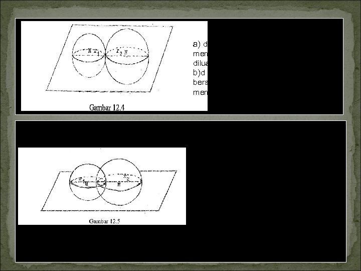 a) d < r 1 +r 2; kedua bola tidak saling memotong; bola yang