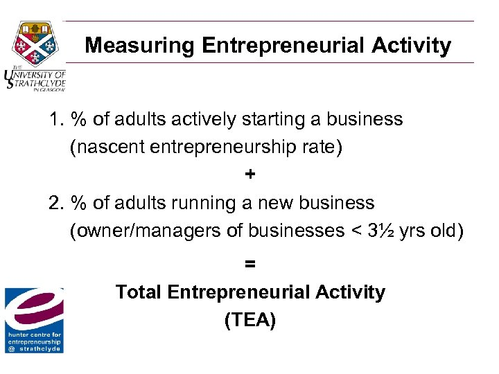 Measuring Entrepreneurial Activity 1. % of adults actively starting a business (nascent entrepreneurship rate)