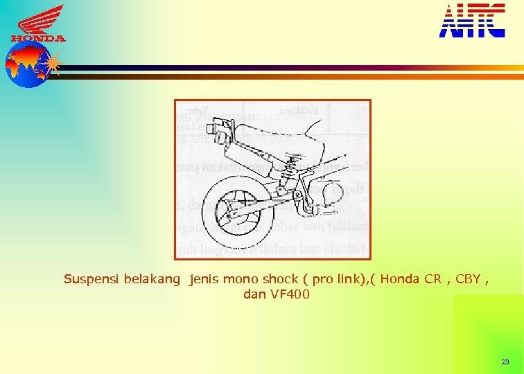 Suspensi belakang jenis mono shock ( pro link), ( Honda CR , CBY ,