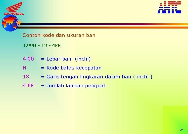 Contoh kode dan ukuran ban 4. 00 H - 18 - 4 PR 4.