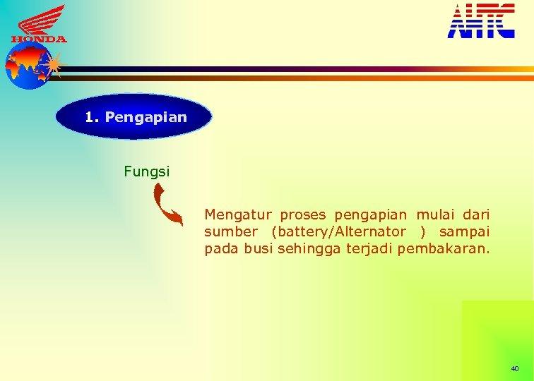 1. Pengapian Fungsi Mengatur proses pengapian mulai dari sumber (battery/Alternator ) sampai pada busi