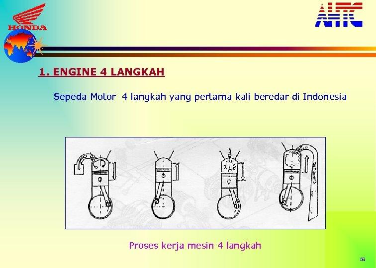1. ENGINE 4 LANGKAH Sepeda Motor 4 langkah yang pertama kali beredar di Indonesia