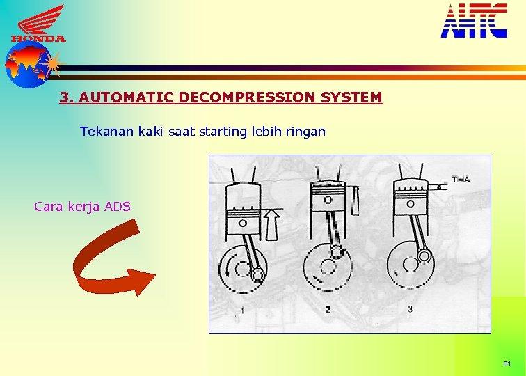 3. AUTOMATIC DECOMPRESSION SYSTEM Tekanan kaki saat starting lebih ringan Cara kerja ADS 61