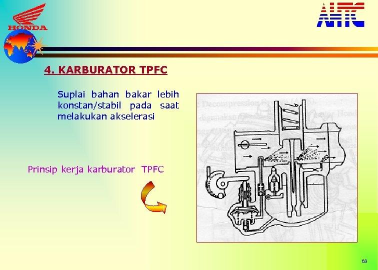 4. KARBURATOR TPFC Suplai bahan bakar lebih konstan/stabil pada saat melakukan akselerasi Prinsip kerja
