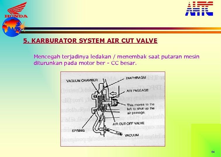 5. KARBURATOR SYSTEM AIR CUT VALVE Mencegah terjadinya ledakan / menembak saat putaran mesin