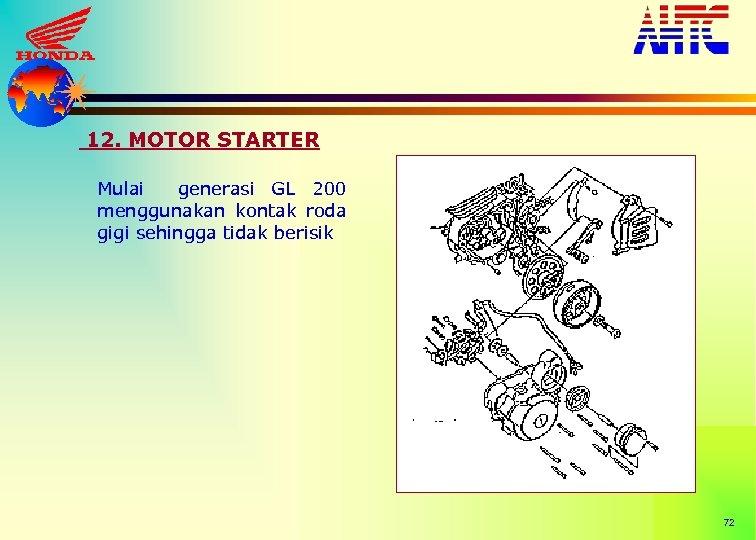 12. MOTOR STARTER Mulai generasi GL 200 menggunakan kontak roda gigi sehingga tidak berisik